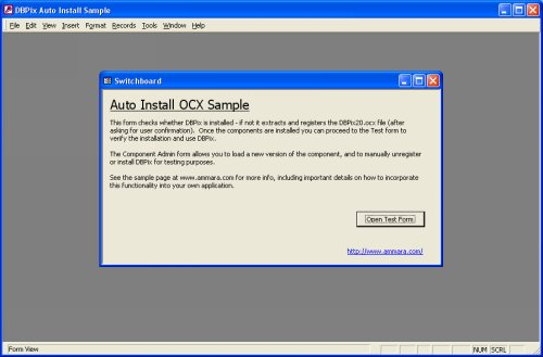 sample screenshot - Access Component Auto-Install